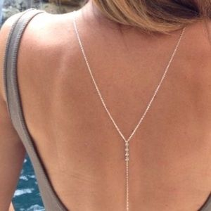 1 left! NWT SILVER sexy back necklace
